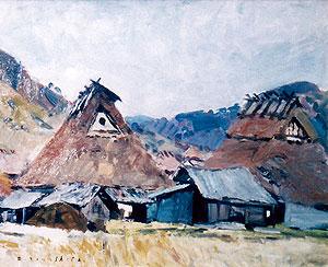 山下大五郎「丹波の里」油彩