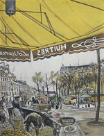 藤田嗣治「テルヌ広場:魅せられし河」銅版画31×23cm