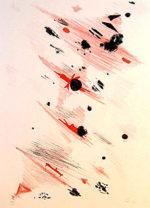 瑛九「飛ぶ」版画リトグラフ40×27cm