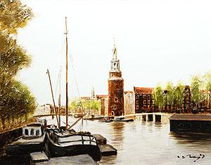 塚越仁慈「塔の見える運河」油彩
