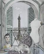 藤田嗣治「ヴァンドーム広場」銅版画手彩色29×23.6cm