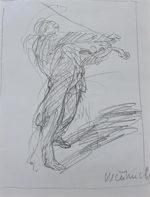 ワイズバッシュ「バイオリニスト」鉛筆デッサン22.5×17cm