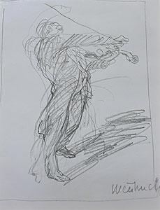 ワイズバッシュ「バイオリニスト」鉛筆デッサン