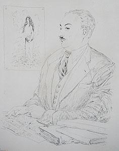 藤田嗣治「ボルフォス氏の肖像」銅版画