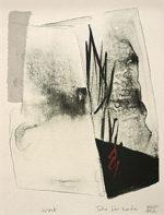 篠田桃紅「Work」リトグラフ・手彩色28.5×23cm