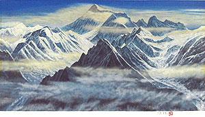 福王寺法林「朝の光輝(ヒマラヤ)」版画