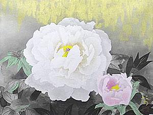 松尾敏男「牡丹晨光」木版画