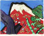 片岡球子「白壽の赤富士」版画42.8×54cm