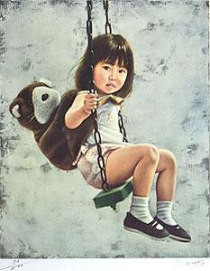 藤岡心象「風になれ」版画