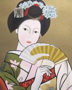 橋本明治「舞妓」版画リトグラフ41.3×33.3cm