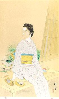 鏑木清方「夏」木版画