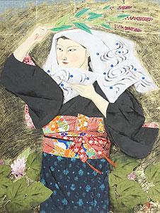 森田曠平「野分(大原女)」日本画