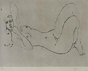 荻太郎「裸婦<白>」銅版画