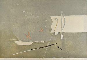 柿崎兆「霜の降りる頃」木版画