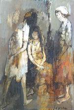 ジャン・ジャンセン「3人の女性」油彩35×24cm