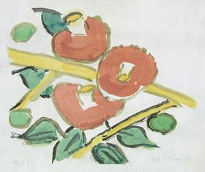 熊谷守一「椿」版画