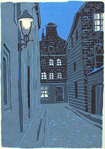 東山魁夷「夕べの町」木版画