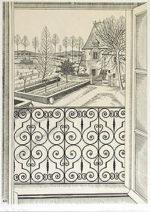 長谷川潔「窓からの眺め」銅版画29×21.5cm