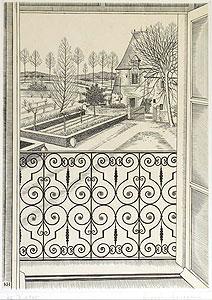 長谷川潔「窓からの眺め」銅版画