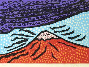 草間彌生「富士は心の故郷」木版画
