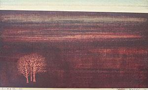星襄一「赤い地平線」木版画