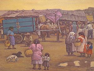 相笠昌義「メキシコにて」油彩