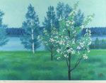 東山魁夷「湖畔の春(新復刻画)」版画45.7×60.6cm