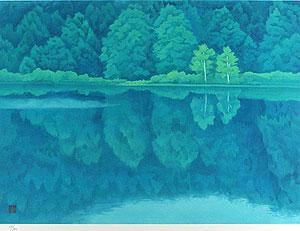 東山魁夷「緑の湖畔(新復刻画)」版画