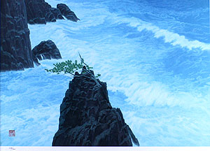 東山魁夷「波響く磯(新復刻画)」版画