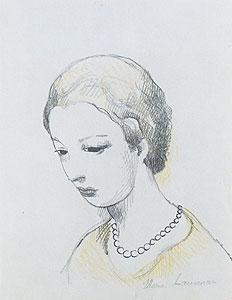 マリー・ローランサン「物思いにふける乙女」版画