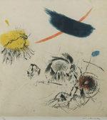 池田満寿夫「水曜日の犬の散歩」銅版画36×33.6cm