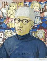 藤田嗣治「自画像」版画27×22cm