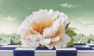 松樹路人「牡丹と風景」油彩