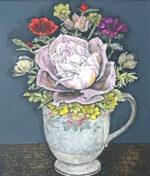 服部和三郎「ピンクの薔薇」油彩3号