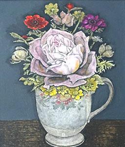 服部和三郎「ピンクの薔薇」油彩