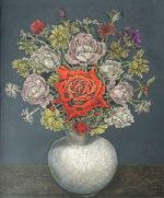服部和三郎「赤い薔薇と小花」油彩8号