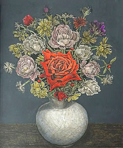 服部和三郎「赤い薔薇と小花」油彩