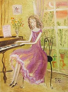 織田広比古「室内の女」油彩