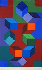 ヴィクトル・ヴァザルリ「沈黙」版画78.2×43.1cm