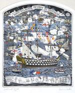 グラハム・クラーク「トラファルガーの戦い」版画42.8×34.4cm