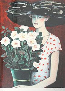 カシニョール「白いバラ」版画