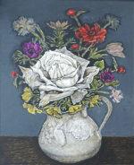 服部和三郎「白いバラ」油彩3号