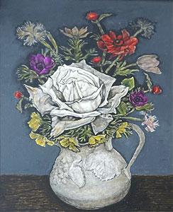 服部和三郎「白いバラ」油彩