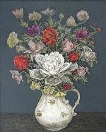 服部和三郎「白い薔薇と小花」油彩6号