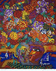 絹谷幸二「薔薇図」版画
