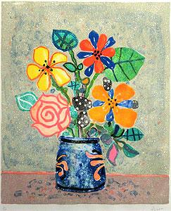 ポール・アイズピリ「グレー背景の花」版画