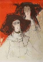 ジャン・ジャンセン「日よけ帽」版画71.5×51.5cm