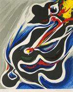 岡本太郎「挑み」版画50×39cm