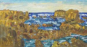 小林和作「海岸風景」油彩