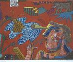 絹谷幸二「回想する人」版画37×45.7